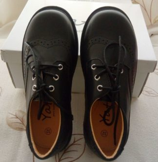 Black Leather School Shoes for Boys